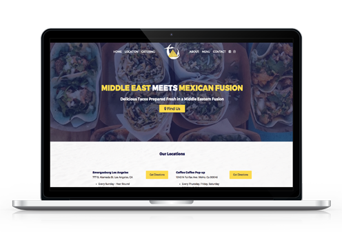Mid East Tacos Website on Laptop